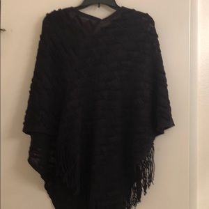 Black One-Size Hand Sewn VNeck Poncho/Sweater